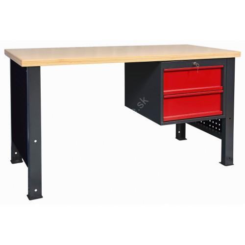 Pracovný stôl s doskou Multiplex s 2- zásuvkovou skrinkou
